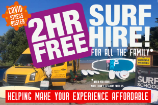 Surf hire for all the family. 2 hours free